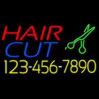 Hair Cut With Number And Scissor Neontábla