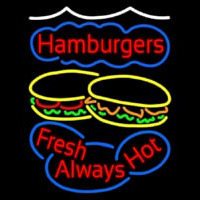 Hamburgers Fresh Always Hot Neontábla