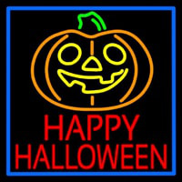 Happy Halloween Pumpkin With Blue Border Neontábla