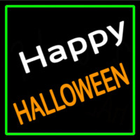 Happy Halloween With Green Border Neontábla