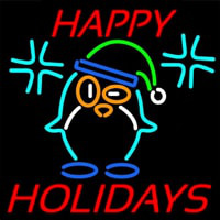 Happy Holidays With Snow Man Logo Neontábla