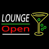 Lounge With Martini Glass Open 2 Neontábla