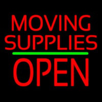 Moving Supplies Open Block Green Line Neontábla