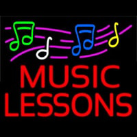 Music Lessons With Logo Neontábla