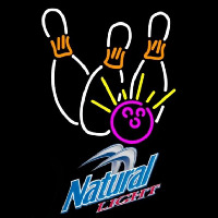 Natural Light Bowling White Pink Beer Sign Neontábla