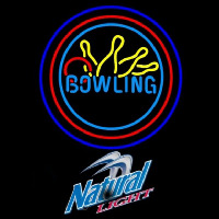 Natural Light Bowling Yellow Blue Beer Sign Neontábla