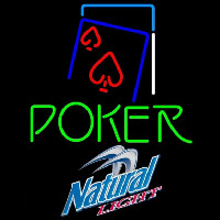 Natural Light Green Poker Red Heart Beer Sign Neontábla