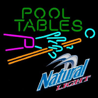 Natural Light Pool Tables Billiards Beer Sign Neontábla