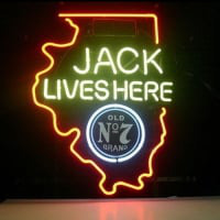 New Jack Daniels Lives Here Illinois Old #7 Whiskey Neon Sör Tábla