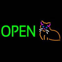 Open Cat Logo Green Letters Neontábla
