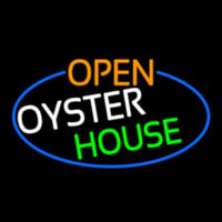 Open Oyster House Oval With Blue Border Neontábla