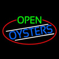 Open Oysters Oval With Red Border Neontábla