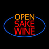 Open Sake Wine Oval With Blue Border Neontábla