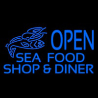 Open Seafood Shop And Diner Neontábla