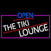 Open The Tiki Lounge With Pink Border Neontábla