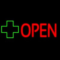 Open With Cross Logo Neontábla
