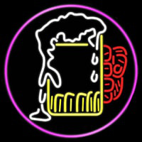 Overflowing Cold Beer Mug Oval With Pink Border Real Neon Glass Tube Neontábla