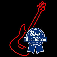 Pabst Blue Ribbon Red Guitar Beer Sign Neontábla
