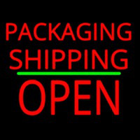 Packaging Shipping Open Block Green Line Neontábla