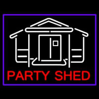 Party Shed With Blue Border Neontábla