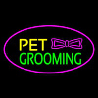 Pet Grooming Logo Oval Purple Neontábla