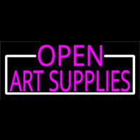 Pink Open Art Supplies With White Border Neontábla