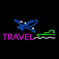 Pink Travel With Logo Neontábla