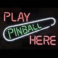 Play Pinball Here Game Room Sör Kocsma Neontábla