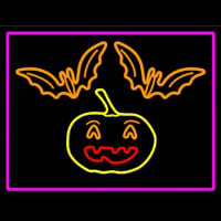 Pumpkin And Bats With Pink Border Neontábla