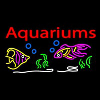 Red Aquariums Fish Logo Neontábla
