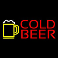 Red Cold Beer With Yellow Mug Neontábla