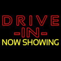 Red Drive In Yellow Now Showing Neontábla