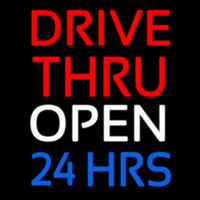 Red Drive Thru Open 24 Hrs Neontábla