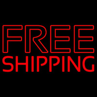 Red Free Shipping Block Neontábla