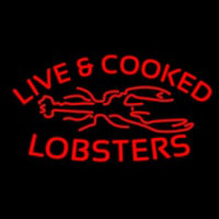 Red Live And Cooked Lobsters Seafood Neontábla