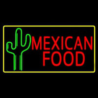 Red Me ican Food With Cactus Logo Neontábla