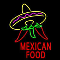 Red Mexican Food Logo Neontábla