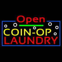Red Open Coin Op Laundry Neontábla