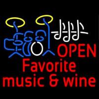 Red Open Music Fovorite Music And Wine Neontábla