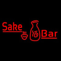 Red Sake Bar With Bottle And Glass Neontábla