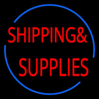 Red Shipping Supplies With Circle Neontábla