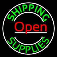 Red Shipping Supplies With Circle Open Neontábla