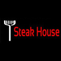 Red Steakhouse With Fork Neontábla