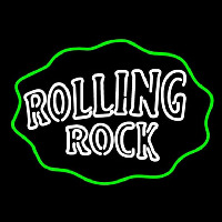 Rolling Rock Double Line Logo With Wavy Circle Neontábla