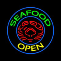 Round Green Seafood Open Neontábla