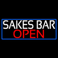 Sakes Bar Open With Blue Border Neontábla