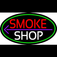 Smoke Shop And Arrow Oval With Green Border Neontábla
