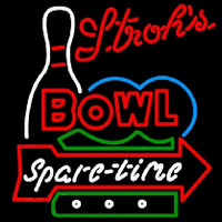 Strohs Bowling Spare Time Beer Sign Neontábla