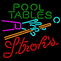 Strohs Pool Tables Billiards Beer Sign Neontábla