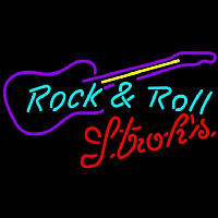 Strohs Rock N Roll Guitar Beer Sign Neontábla